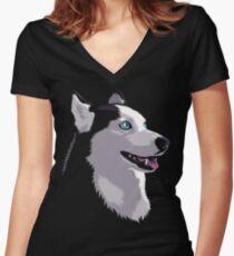 Siberian husky Women's Fitted V-Neck T-Shirt