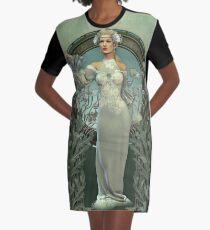 Art Nouveau White Lady Graphic T-Shirt Dress