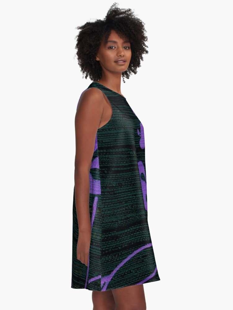 Alternate view of Purple Glamour on Black Weave A-Line Dress