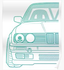 Custom Bimmer E30 3 Series T-Shirt Poster