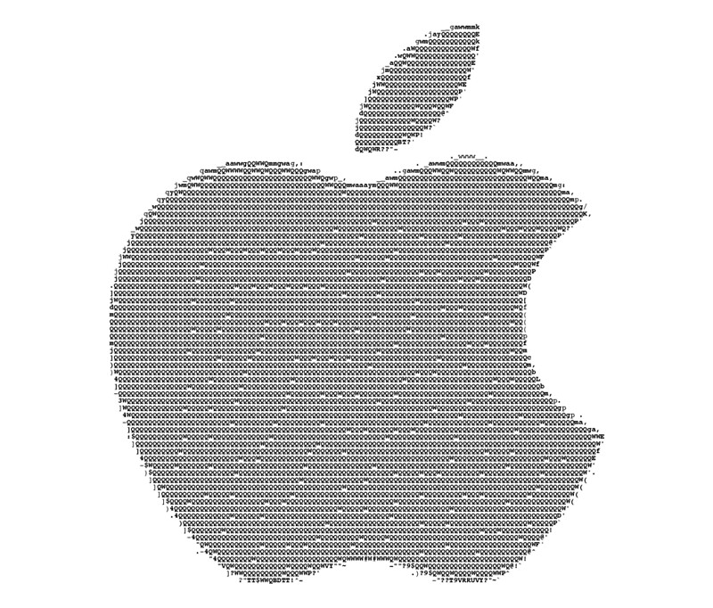 Apple logo in ascii art travel mugs by skibum3d redbubble for Ascii decoration