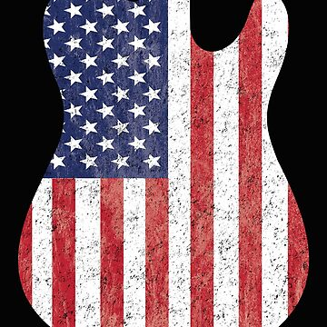 Electric Guitar USA Flag Distressed Design by kudostees
