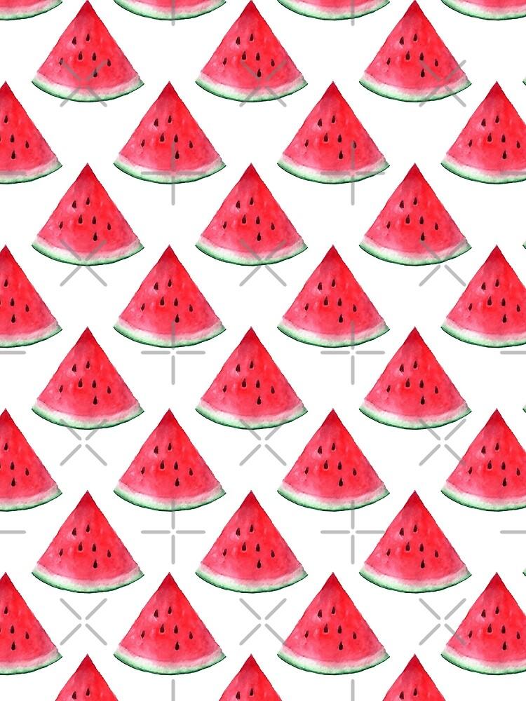Juicy watermelon. Watercolor Tropical Fruit by epine