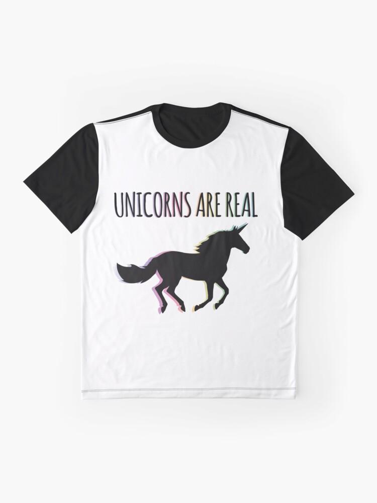 Alternate view of Unicorns are Real Rainbow Version Graphic T-Shirt