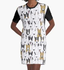 Funny bull terriers pattern Graphic T-Shirt Dress