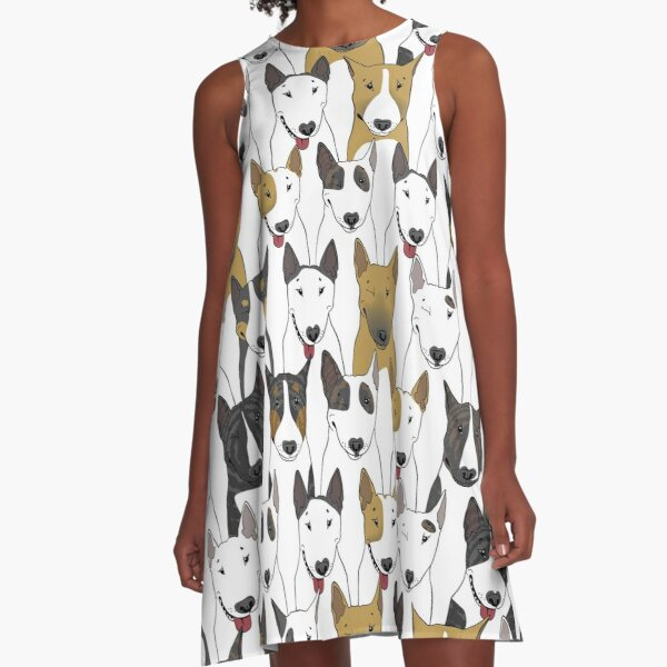 Funny bull terriers pattern A-Line Dress