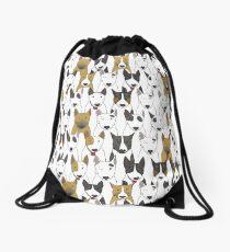 Funny bull terriers pattern Drawstring Bag