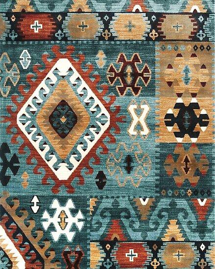 704 Tribal Geometrisch Diamantformen Brauner Farbton Poster Von