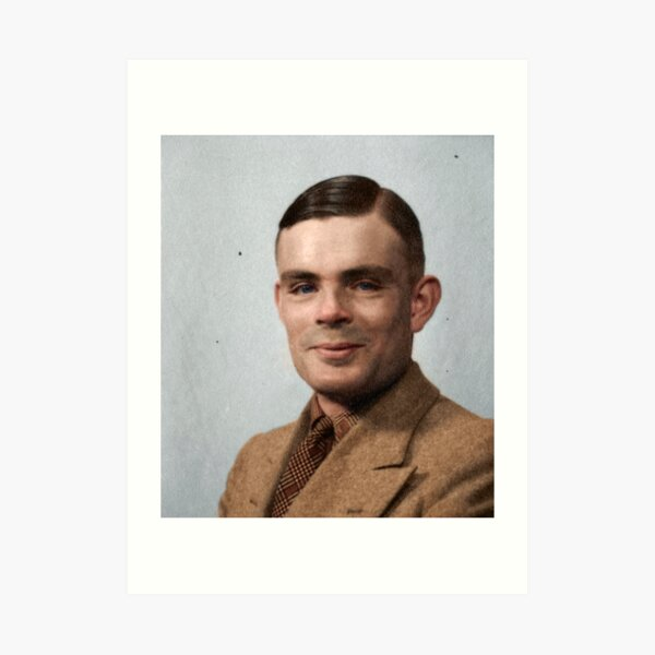 Alan Turing - a computer scientist, philosopher and cryptologist who played a crucial role in breaking the Nazis' Enigma code, seen here in happier times. Unknown date. Art Print