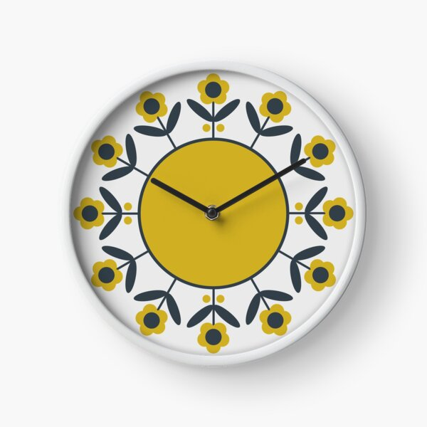 Retro Flower (Mustard) Clock