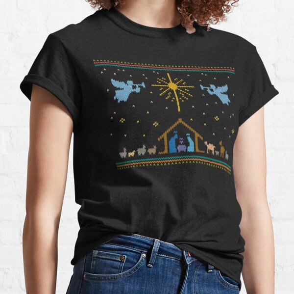 Knitted Nativity - Ugly Merry Christmas Sweater Knit Manger Classic T-Shirt