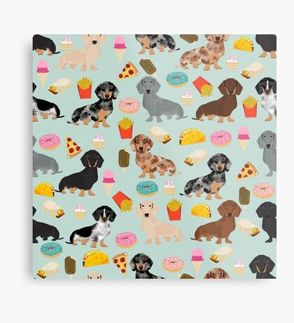Dachshund doxie dachsie junk food pizza donuts french fries dog breed gifts Metal Print