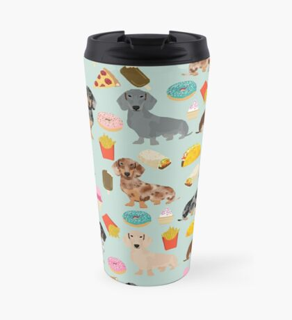 Dachshund doxie dachsie junk food pizza donuts french fries dog breed gifts Travel Mug