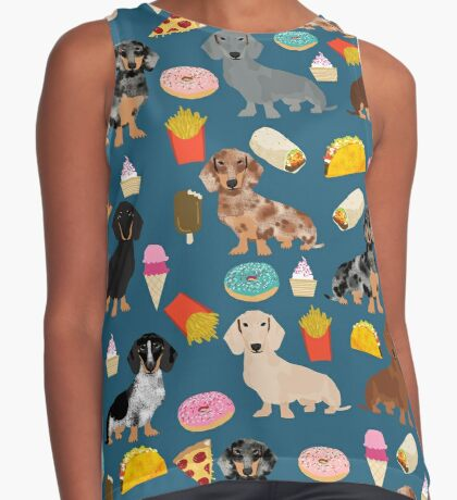 Dachshund doxie dachste junk food peizza donuts french fries dog breed gifts Sleeveless Top