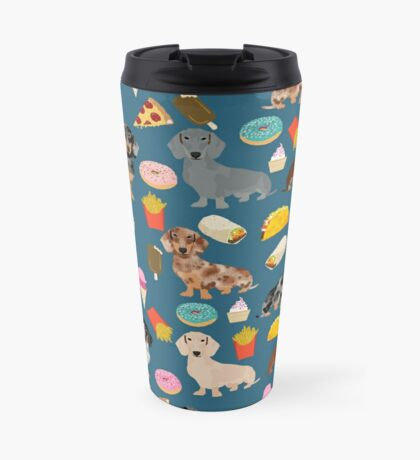 Dachshund doxie dachste junk food peizza donuts french fries dog breed gifts Travel Mug