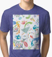 high level white Tri-blend T-Shirt