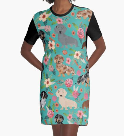 Dachshund doxie dachsie floral flowers dog breed gifts Graphic T-Shirt Dress