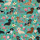 Dachshund doxie dachsie floral flowers dog breed gifts by PetFriendly