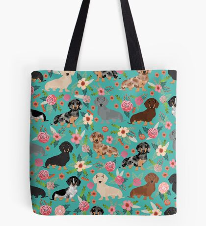 Dachshund doxie dachsie floral flowers dog breed gifts Tote Bag