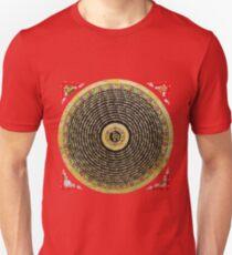 Tibetan Thangka - Om Mandala with Syllable Mantra over Red T-Shirt