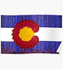 aspen tree Colorado flag Poster