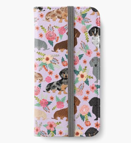 Dachshund floral flowers doxie dachsie dog breed pattern iPhone Wallet
