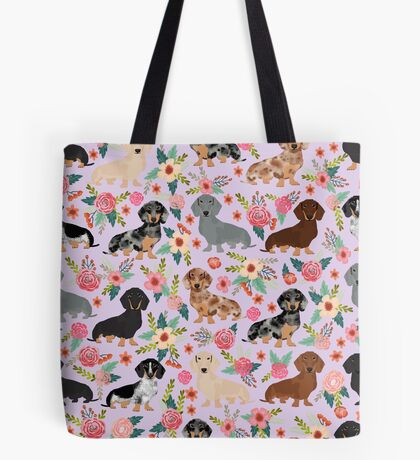 Dachshund floral flowers doxie dachsie dog breed pattern Tote Bag