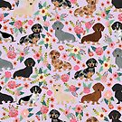 Dachshund floral flowers doxie dachsie dog breed pattern by PetFriendly