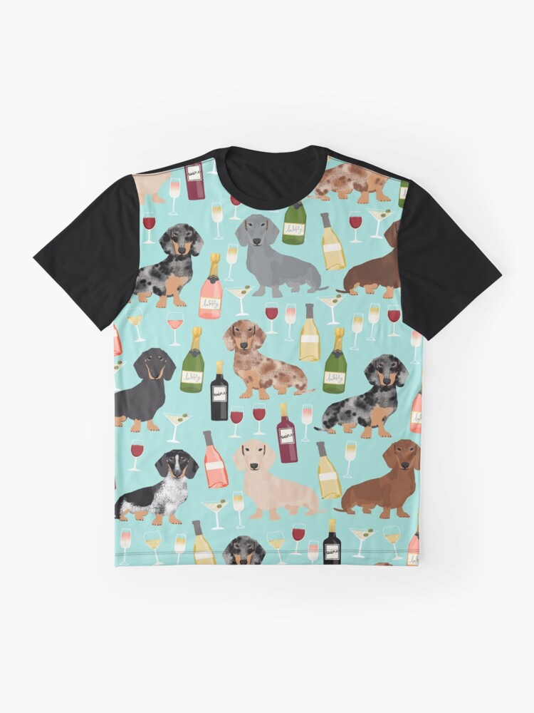Alternate view of Dachshund wine champagne cocktails rose doxie dachsie dog breed pattern Graphic T-Shirt