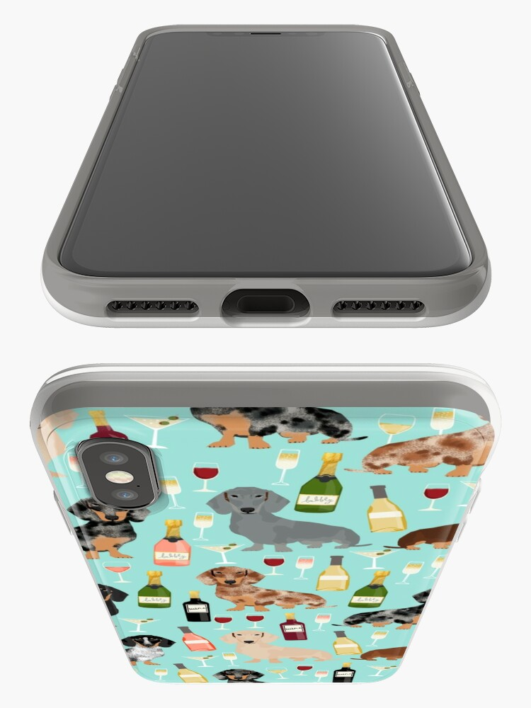 Alternate view of Dachshund wine champagne cocktails rose doxie dachsie dog breed pattern iPhone Case & Cover