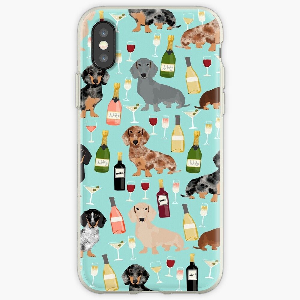 Dachshund wine champagne cocktails rose doxie dachsie dog breed pattern iPhone Case & Cover