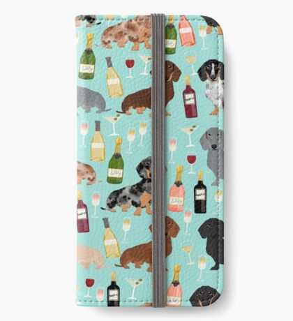 Dachshund wine champagne cocktails rose doxie dachsie dog breed pattern iPhone Wallet