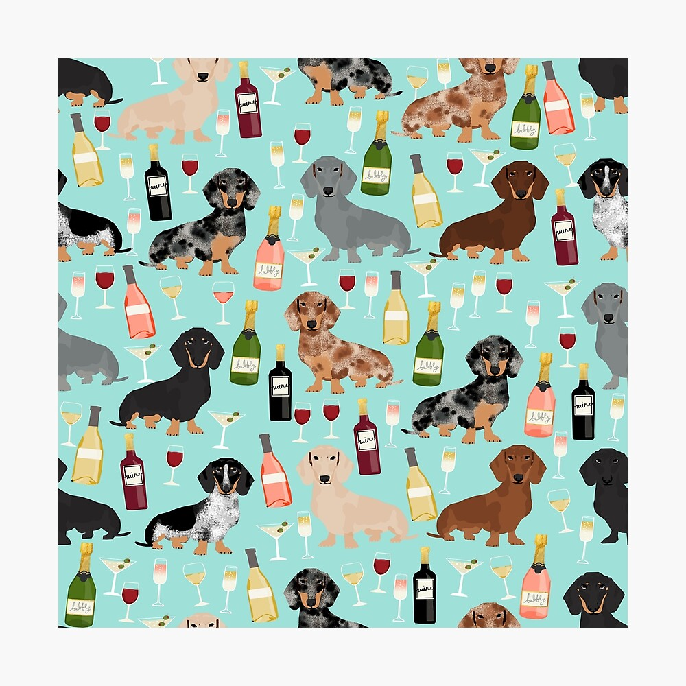 Dachshund wine champagne cocktails rose doxie dachsie dog breed pattern Photographic Print