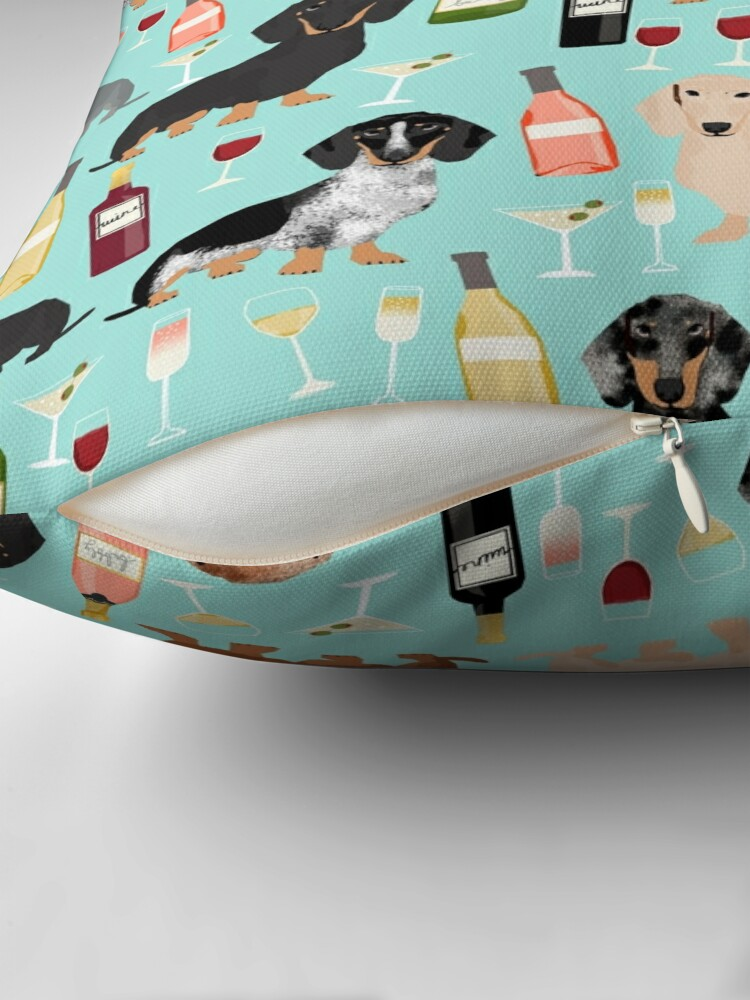 Alternate view of Dachshund wine champagne cocktails rose doxie dachsie dog breed pattern Throw Pillow