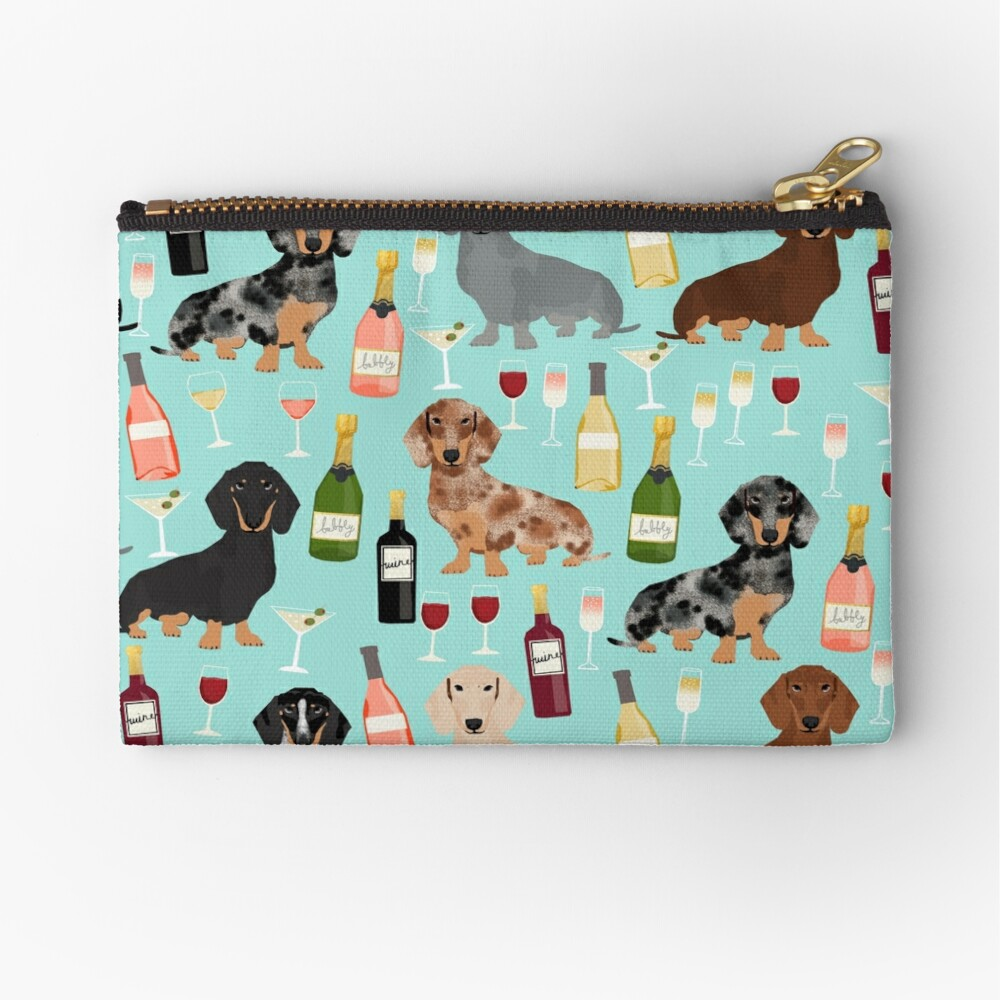 Dachshund wine champagne cocktails rose doxie dachsie dog breed pattern Zipper Pouch