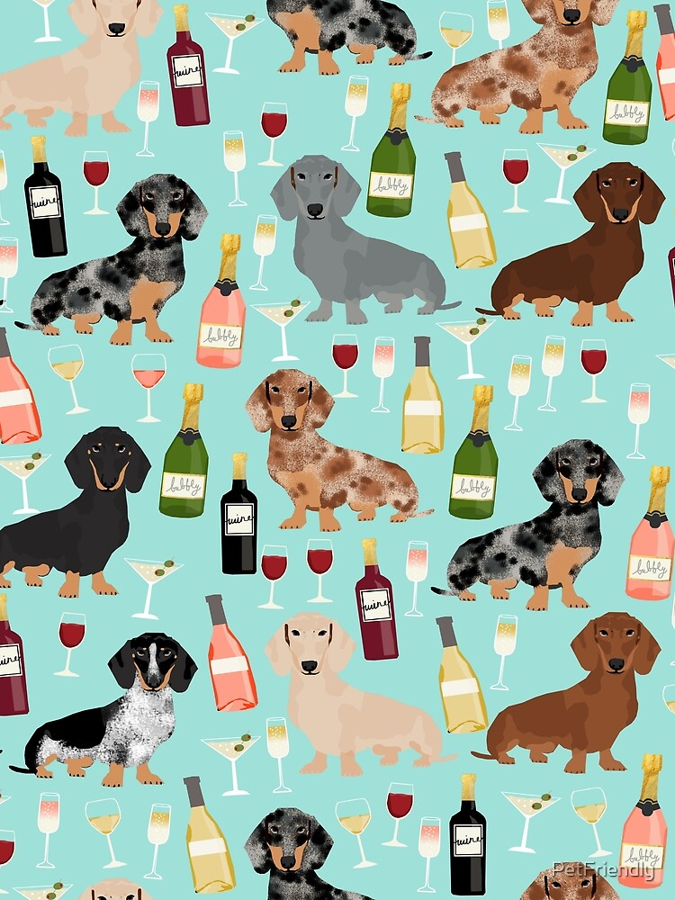 Dachshund wine champagne cocktails rose doxie dachsie dog breed pattern by PetFriendly