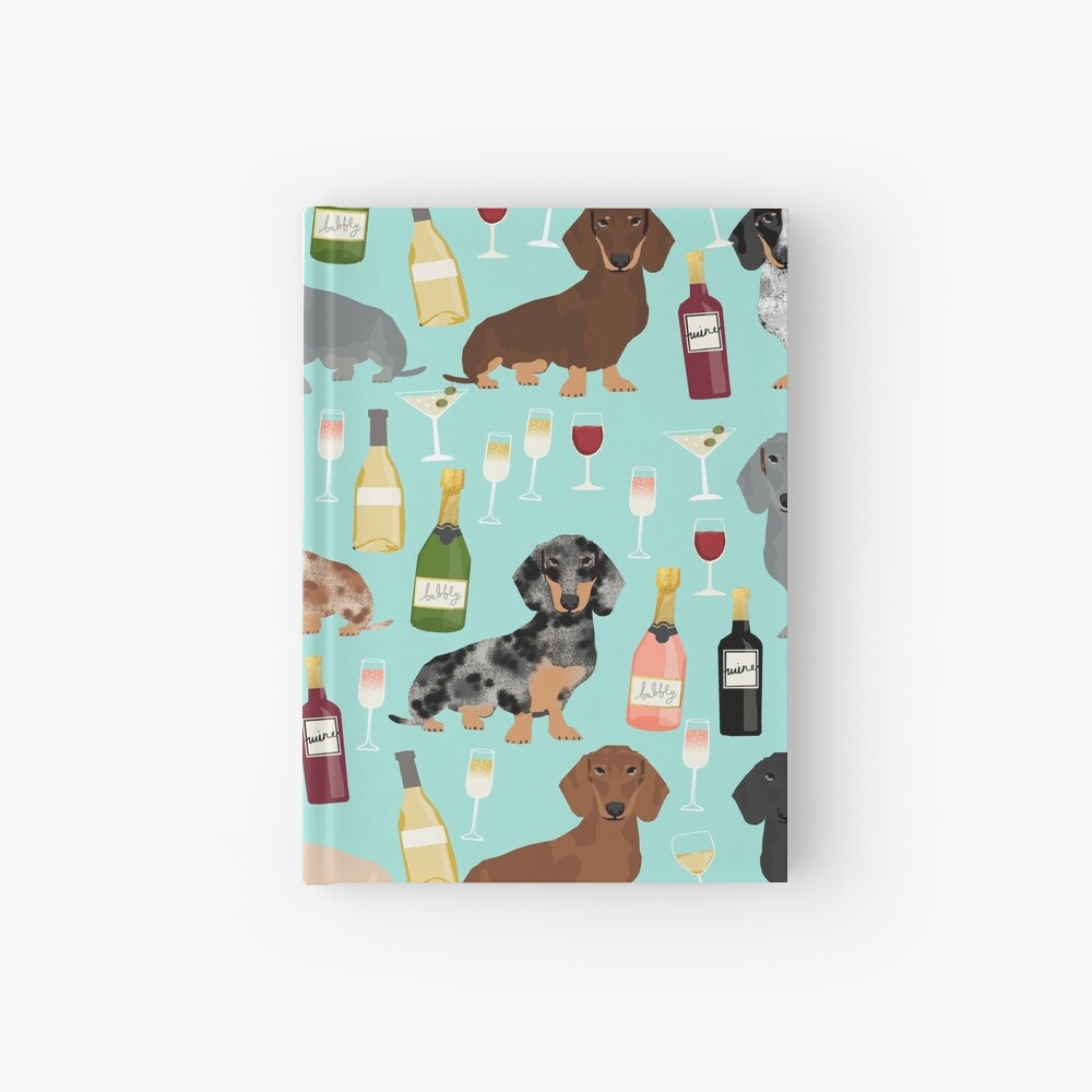 Dachshund wine champagne cocktails rose doxie dachsie dog breed pattern Hardcover Journal
