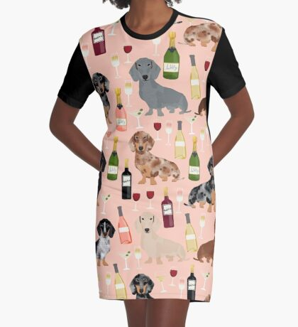 Dachshund doxie dachsie champagne wine cocktails dog breed gifts Graphic T-Shirt Dress