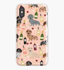 Dachshund doxie dachsie champagne wine cocktails dog breed gifts iPhone Case/Skin