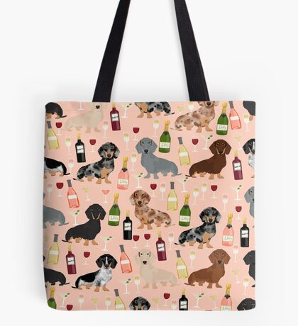 Dachshund doxie dachsie champagne wine cocktails dog breed gifts Tote Bag