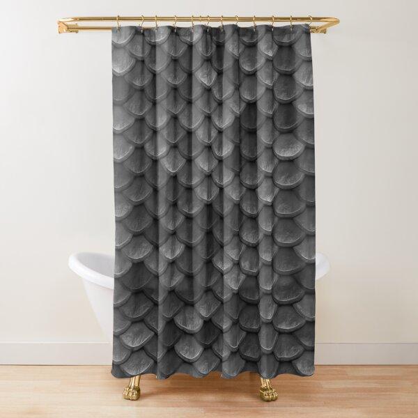 Beautiful charcoal gray mermaid fish Scales Shower Curtain