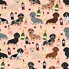 Dachshund doxie dachsie champagne wine cocktails dog breed gifts by PetFriendly
