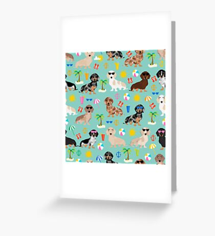 Dachshund doxie dachsie summer beach tropical vacation dog breed gifts Greeting Card