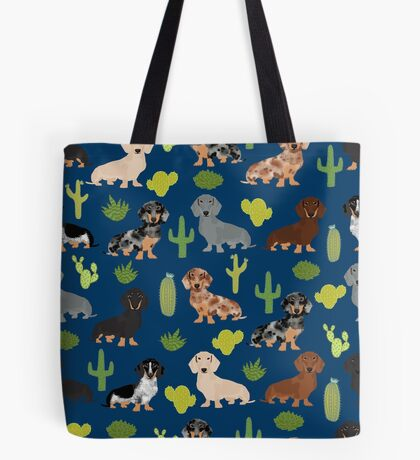 Dachshund doxie dachsie cactus desert southwest vacation dog breed gifts Tote Bag
