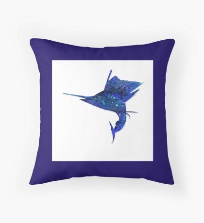 Mosaic Sailfish DARK / Watercolour Effect (Print) Throw Pillow