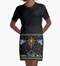 Knitted Nativity - Ugly Christmas Sweater Knitting Knit Graphic T-Shirt Dress