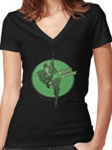 Night Vision Pin Up Women's Fitted V-Neck T-Shirt