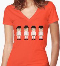 8-Bit A Clockwork Orange Women's Fitted V-Neck T-Shirt