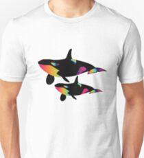 Two Orca Whales. Color Gradient Killer Whales T-Shirt