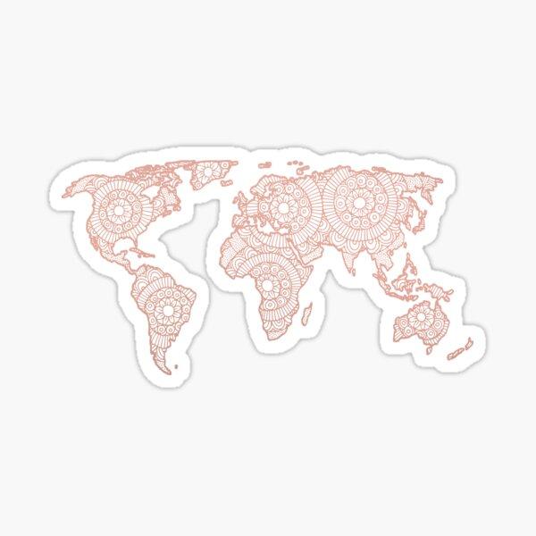 Rose Gold Mandala World Map Sticker